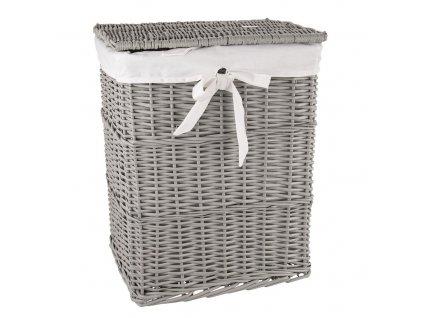 Proutěný koš na prádlo šedý s mašlí