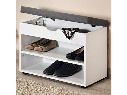 Bielo-šedý botník s lavicou
