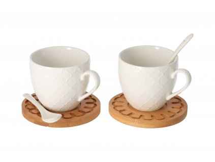 Drevená podložka s porcelánovým hrnčekom 0,25 l a lyžičkou 2 ks