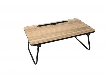 Drevený servírovací stolík do postele s kovovými nohami