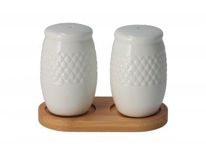 Soľnička a korenička porcelán-bambus