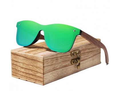 Drevené slnečné okuliare Kingseven - zelené