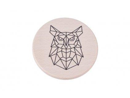 Drevený podtácok - Geometrická sova