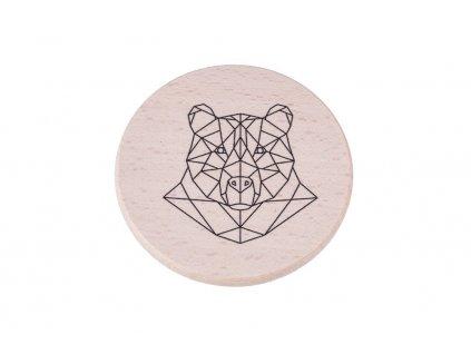 Drevený podtácok - Geometrický medveď
