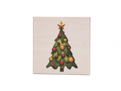 Dřevěný podtácek - Vánoční stromeček