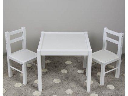 Drevený detský stolček so stoličkami biely