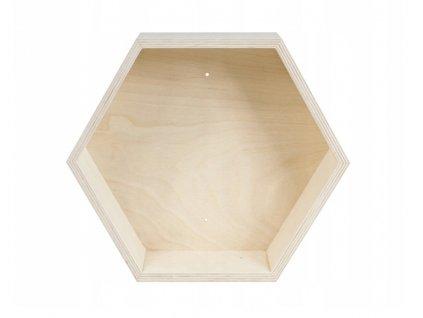 Drevená polica - hexagon