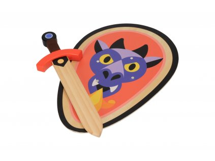 Dřevěný štít s mečem - Drak
