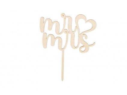 Drevený ozdoba na zapichovanie - Mr ♡ Mrs