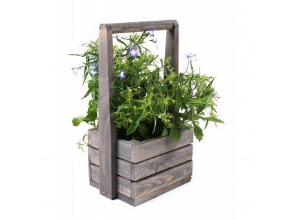 Malý dřevěný květináč s rukojetí - šedý