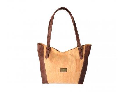 Dámska korková kabelka cez rameno s hnedým lemovaním