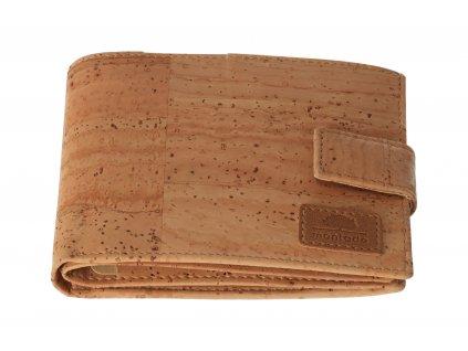 Veľká pánska korková peňaženka so zapínaním