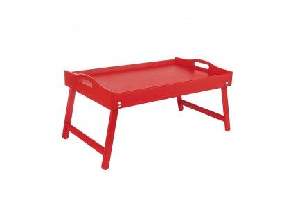 Drevený servírovací stolík do postele 50x30 cm červený