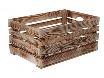 Opálená drevená debnička 46 x 32 x 22 cm