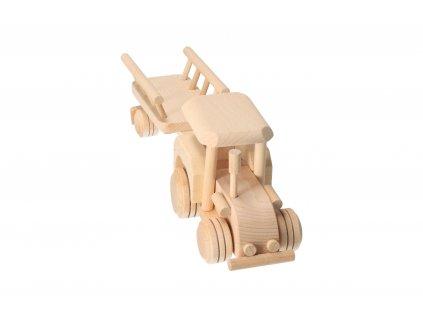 Drevený traktor s vlečkou