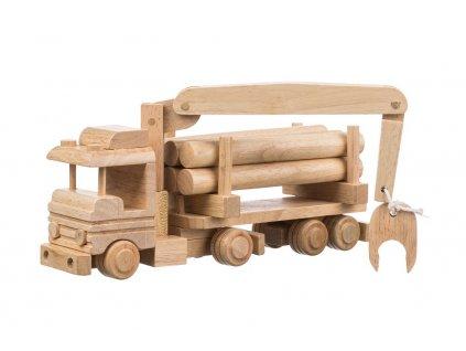 Drevené nákladné auto so žeriavom