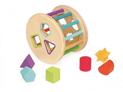 Drevená magnetická hračka vkladanie tvarov - bubon