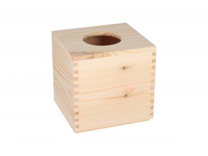 Drevená krabička na vreckovky štvorcová