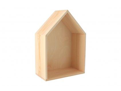 Drevená polička domček - stredná