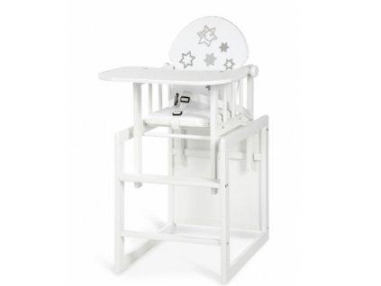 Jedálenská stolička borovica  biela - AGA hviezdičky