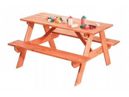 Drevená detská lavica so stolom