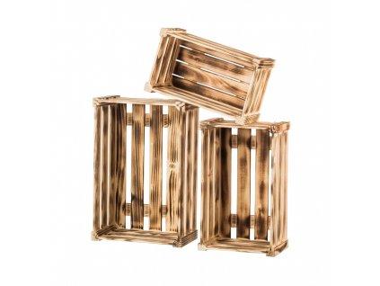 Opálené drevené debničky borovica - komplet 3 ks