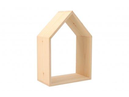 Drevená polička domček otvorená - stredná