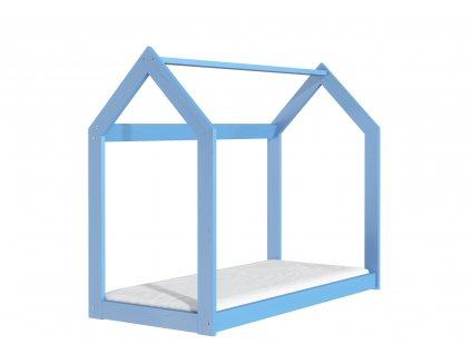Drevená posteľ domček 160 x 80 cm modrá + rošt