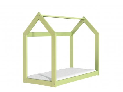 Drevená posteľ domček 160 x 80 cm zelená + rošt