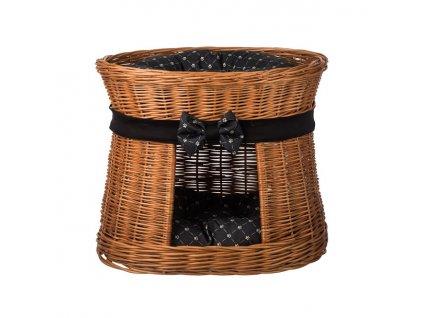 Prútený pelech s búdou prírodný - obšitý s čiernou mašľou