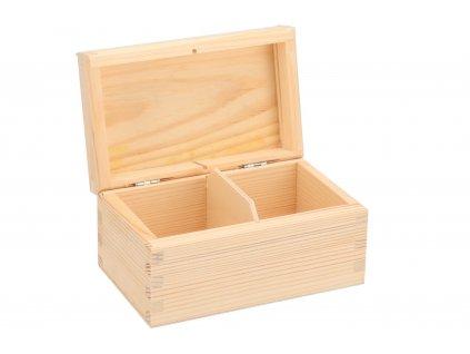 Drevená krabička na čaj (2 priehradky)