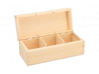 Drevená krabička na čaj (3 priehradky)