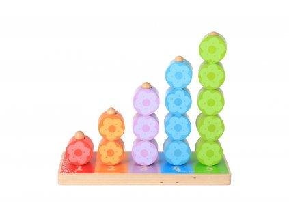 Drevená hračka - nasadzovanie farebných kvietkov
