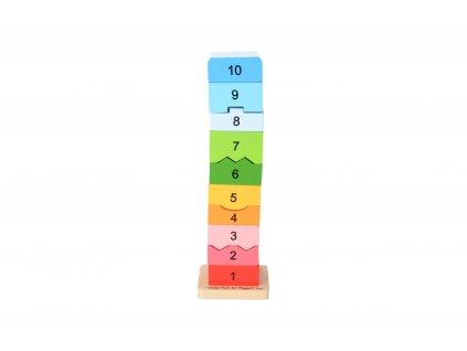 Drevená motorická veža s číslicami
