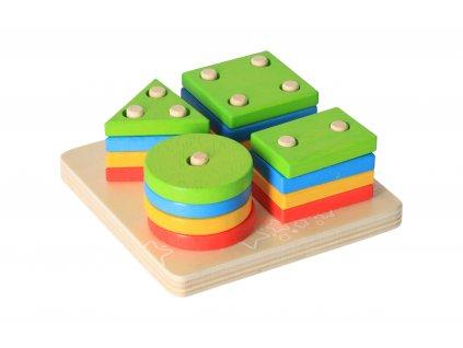 Drevená motorická hračka - nasadzovanie tvarov na tyč