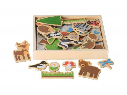 Drevené magnetky lesné zvieratká