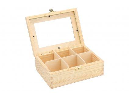 Drevená krabička s plexisklom - 6 priehradiek