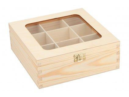 Drevená krabička s plexisklom - 9 priehradiek