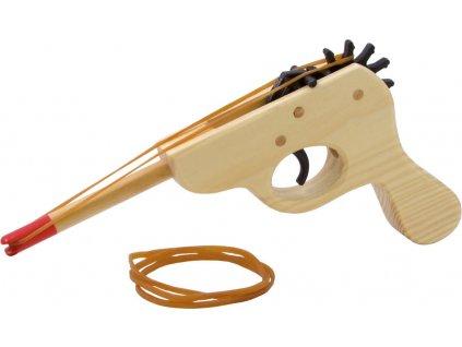 Drevená pištoľ na gumu
