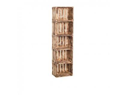 Drevené opálené debničky regál 150 x 40 x 24 cm
