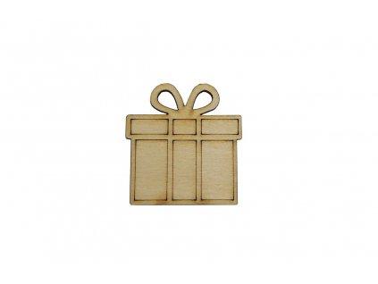 Drevený vianočný darček 4 x 4 cm