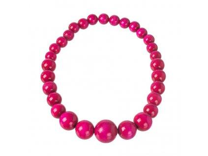 Drevený náhrdelník - ružový