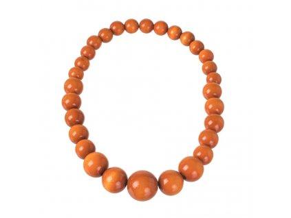 Drevený náhrdelník - oranžový