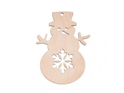 Drevená vianočná výzdoba - snehuliak