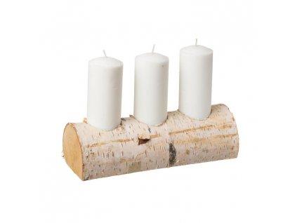 Svietnik z brezy na tri sviečky