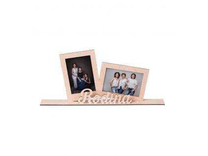 Drevený fotorámik rodina