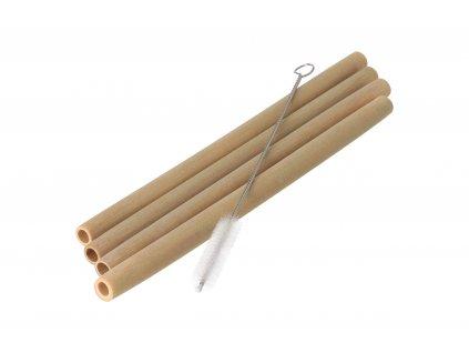Bambusové slamky - súprava 4 ks s kefkou