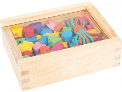 Drevené navliekacie korálky v krabičke