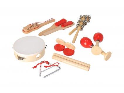 Sada drevených hudebných nástrojov