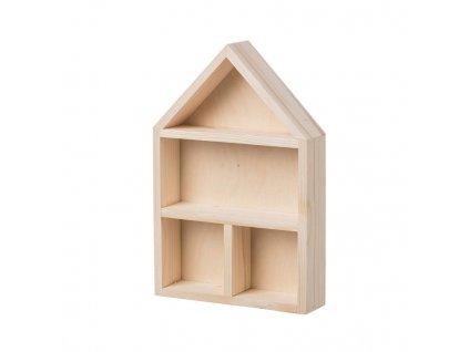 Drevená polička domček s prihrádkami